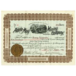 Addie-May Mining Company of Georgia, 1892 I/U Stock Certificate