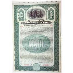 Durham Coal & Iron Co., 1911 $1,000 Specimen 5% Gold Bond, VF-XF Condition, ABNC