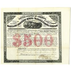 Maryland Freestone Mining and Manufacturing Co. 1870 I/U Gold Bond