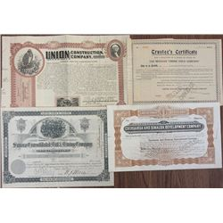 Mexico. Mining, Land Company, and Construction Company Stock Certificate Quartet, ca.1883 to 1907.