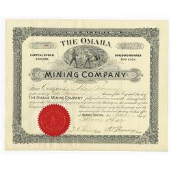 Omaha Mining Co. 1892 I/U Stock Certificate