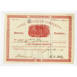 Montana Territory. Algonquin Co. 1881 I/U Stock Certificate