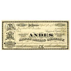 Andes Silver Mining Co., 1876 I/U Stock Certificate Signed by Civil War General George S. Dodge.