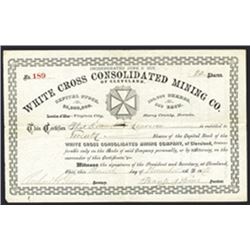 White Cross Consolidated Mining Co., 1878 I/U Stock Certificate.