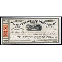 Stranger Gold and Silver Mining Co. 1864 I/U Stock Certificate.