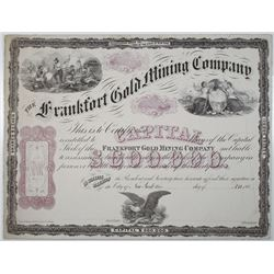 Frankfort Gold Mining Co. 1860s Proof Stock Certificate By Major & Knapp, NY
