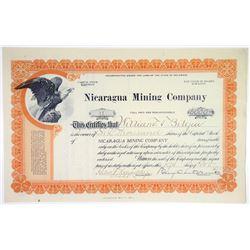 Nicaragua Mining Co. 1919 I/U Stock Certificate.