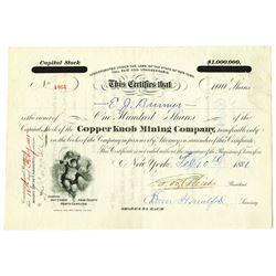 Copper Knob Mining Co. 1881 I/U Stock Certificate
