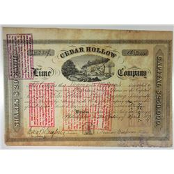 Cedar Hollow Lime Co. 1877 Issued and Partially Redeemed Cancels Stock Certificate