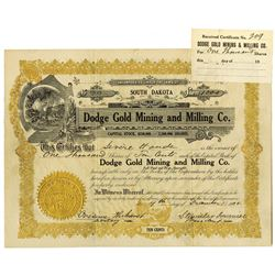 Dodge Gold Mining and Milling Co. 1908 I/U Stock Certificate