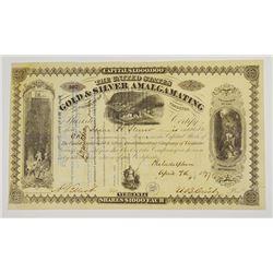 United States Gold & Silver Amalgamating Co., 1877 I/U Stock Certificate