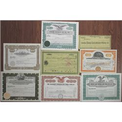 Miscellaneous Mining Stock Certificate Group of 8, ca.1890's to 1950.