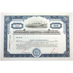 LA. Mississippi Shipping Co. Inc., 1920s 100 Shrs Specimen Stock Certificate XF