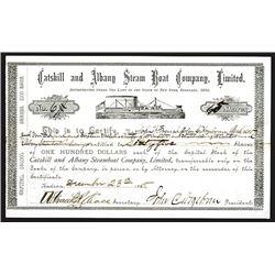 Catskill and Albany Steam Boat Co., 1885 I/U Stock Certificate.