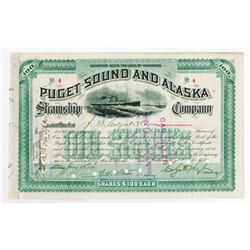 Puget Sound and Alaska Steamship Co. 1890 Stock Certificate, Low S/N 4.