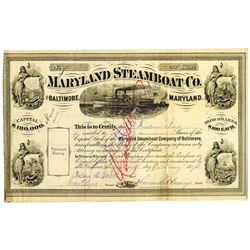 Maryland Steamboat Co. of Baltimore 1874 I/C Stock Certificate
