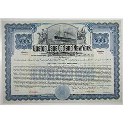 Boston, Cape Cod and New York Canal Co. 1910 Specimen Bond.