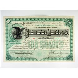 Submarine Monitor Co. of N.Y. 1885 Stock Certificate, Historic Early Military Submarine Manufacturer