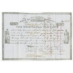 Pennsylvania. Erie Canal Company 1845 Issued and Partially Redeemed Bond.