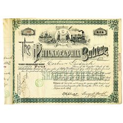 Philadelphia Bourse 1892 I/C Stock Certificate Signed by George E. Bartol as President and Founder.