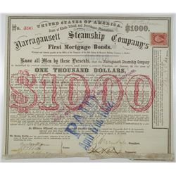 Narragansett Steamship Co. 1869 I/C Bond Signed by Civil War General Ambrose Burnside as President