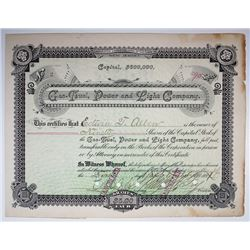 Gas, Fuel, Power and Light Co., 1891 I/C Stock Certificate