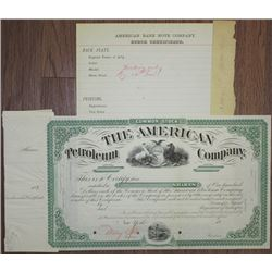 American Petroleum Co., 1882 Unique Approval Proof Stock Certificate & Order Form