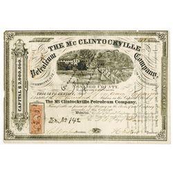McClintockville Petroleum Co., 1865 I/C Stock Certificate