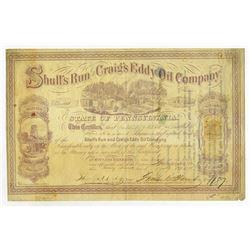 Shull's Run and Craig's Eddy Oil Co., 1865 I/U Stock Certificate.