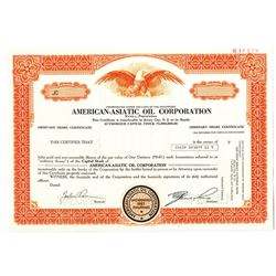 American-Asiatic Oil Corp. 1976 Specimen Stock Certificate