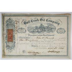Bull Creek Oil Co., 1864 I/C Stock Certificate