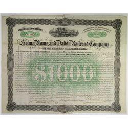 AL GA. Selma, Roma, & Dalton Railroad Co., $1,000 I/U Bond VF-XF Condition