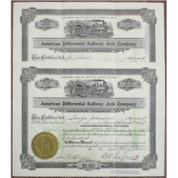 American Differential Railway Axle Co., 1910 I/U Stock Certificate Pair