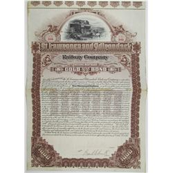 St. Lawrence & Adirondack Railway Co. 1896 I/U Bond Rarity