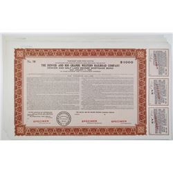 Denver and Rio Grande Western Railroad Co., 1943 & 1947 Stock and Bond Group of 10