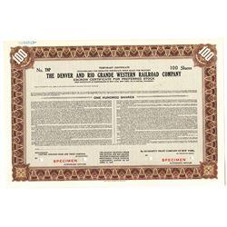 Denver and Rio Grande Western Railroad Co., 1947 Specimen Temporary Stock Certificate