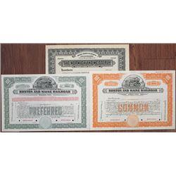 North Eastern Railroad Specimen Stock Certificate Trio, ca.1900-1930