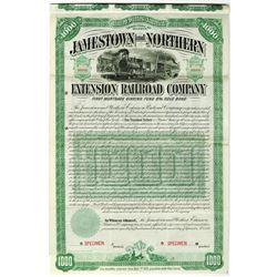 Jamestown and Northern Extension Railroad Co., 1889 Specimen Bond