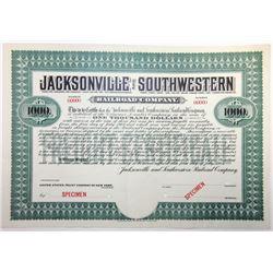 Jacksonville and Southwestern Railroad Co., 1903 Specimen Bond