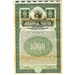 Jacksonville Traction Co., 1911 Specimen Bond