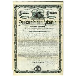 Pensacola and Atlantic Railroad Co., 1881 Specimen Bond Rarity