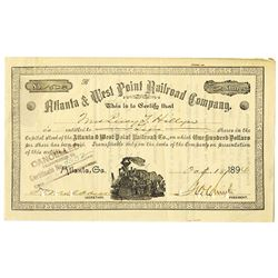Atlanta & West Point Railroad Co. 1894 I/C Stock Certificate