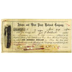 Atlanta and West Point Railroad Co. 1882 I/C Stock Certificate