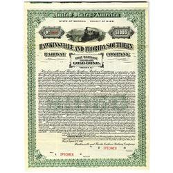 Hawkinsville and Florida Southern Railway Co., 1913 Specimen Bond