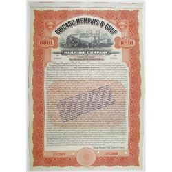 Chicago, Memphis & Gulf Railroad Co. 1910 Specimen Bond
