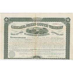 Chicago, Pekin and South-Western Railroad Co., 1876 Issued Bond.