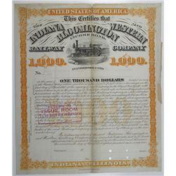 Indiana, Bloomington and Western Railway Co. 1879 Specimen Bond