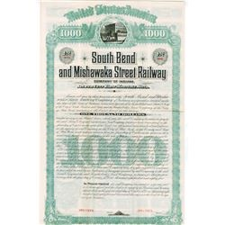 South Bend & Mishawaka Street Railway Co., 1885, $1000 Specimen Bond Rarity
