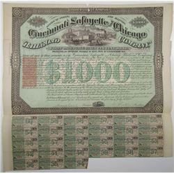 Cincinnati, Lafayette and Chicago Railroad Co. 1871 I/C Bond With I.R. RN-W2.
