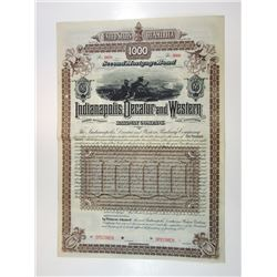 Indianapolis, Decatur and Western Railway Co., 1888 Specimen Bond